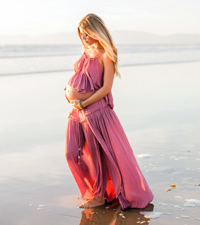 Pregnant women on beach